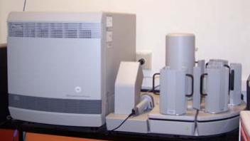 AB 7900 HT FAST A thermocycler, with a laser detection system, used to assess the degree of amplification by measuring the intensity of fluorescence in a given sample.